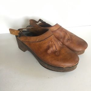 Vintage Leather Tooled Clogs